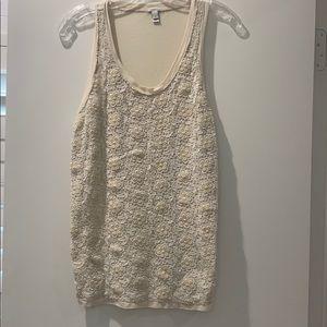 J Crew | White Cream Floral Crochet Tank Top/Cami